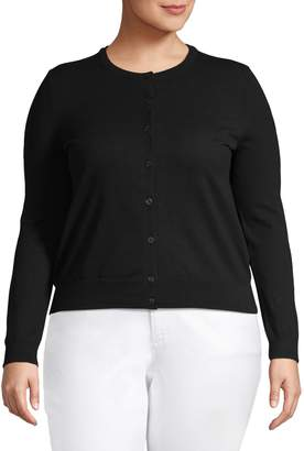 Lord & Taylor Plus Button-Front Cotton-Blend Cardigan