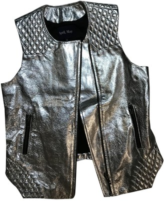 April May Metallic Leather Leather Jacket for Women