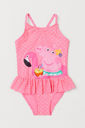 H&M Ruffle-trimmed Swimsuit - Pink