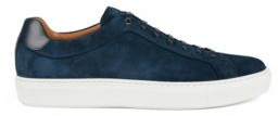 HUGO BOSS Sneakers In Italian Suede With Cognac Leather Lining - Dark Blue