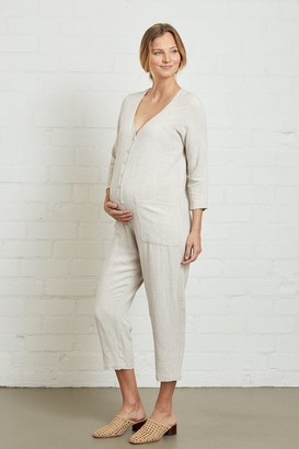Maternity Linen Troy Jumpsuit
