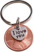 JewelryEveryday I Love You Heart Charm Layered Over 1991 Penny Keychain 26 Year Anniversary Gift