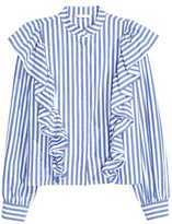 H&M Ruffled Blouse - Blue/striped - Ladies