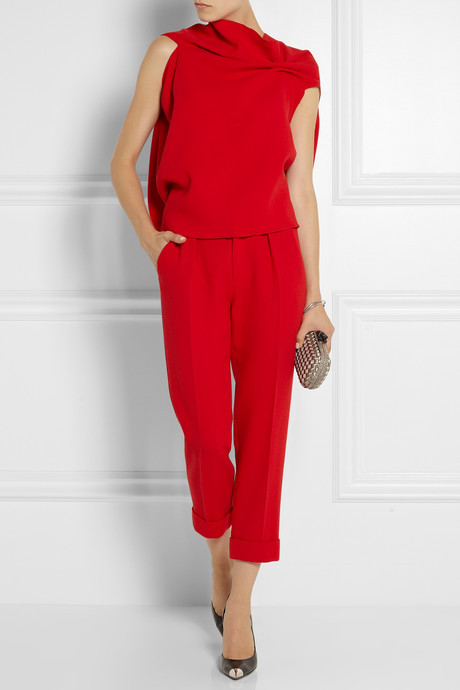 Roland Mouret Carillon cropped wool-crepe pants