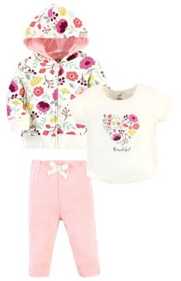 Touched by Nature Toddler Girl Organic Cotton Hoodie, Tee Top and Pant, 3pc