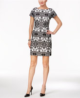 Sandra Darren Petite Brocade-Print Sheath Dress