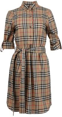 Burberry Vintage Check Stretch Cotton Tie-waist Shirt Dress