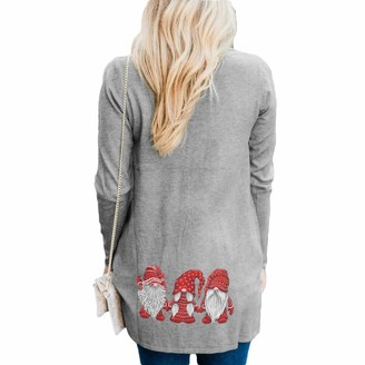 NOBAND Womens Long Sleeve Cardigan Christmas Print Drape Front Open Sweater Ladies Casual Loose Cozy Ugly Xmas Jumpers Tops for Women Size XL-5XL(UK 10-20) Grey