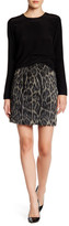 Nicole Miller Brushed Leopard Skirt with Genuine Leather Trim