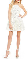 B. Darlin Sequin-Embellished Lace Fit-And-Flare Dress