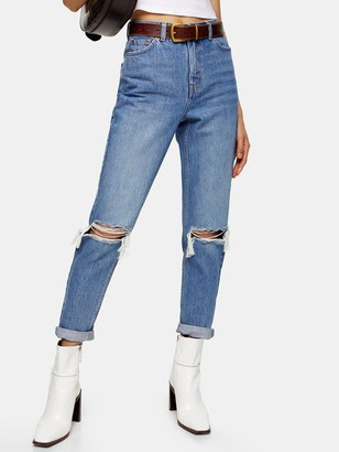 Topshop Double Rip Mom Jeans - Blue