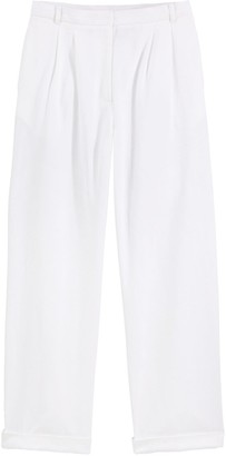 Vanessa Seward X La Redoute Collections Cotton Pleated Straight Trousers, Length 30""