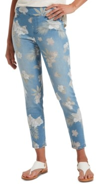 Hue Women's Tropical Orchid Ultra Soft Denim High-Waist Skimmer Leggings