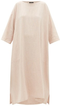 eskandar Boat-neck Linen-blend Midi Dress - Pink