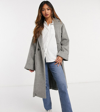 NATIVE YOUTH relaxed longline coat with patch pockets