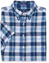Gant Linen Short Sleeve Blues Plaid Shirt