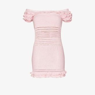 She Made Me Saachi Ruffled Crochet Bardot Dress