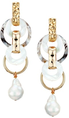Akola 18MM Baroque Pearl, Mother-Of-Pearl & Horn Chain-Link Earrings