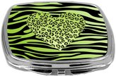 Rikki Knight Leopard Heart on Zebra Background Design Compact Mirror, Green, 3 Ounce