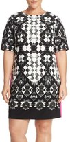 Eliza J Geo Print Jersey Shift Dress (Plus Size)