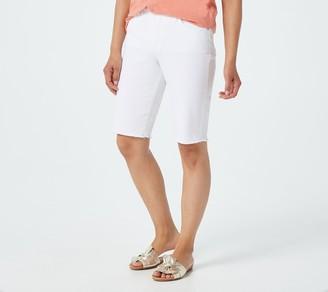 Denim & Co. Bermuda Short With Frayed Hem - Twill