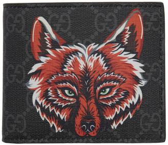 Gucci Black GG Supreme Wolf Wallet