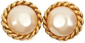 Chanel Gold Pearl Earrings