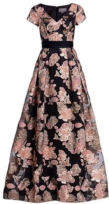 Theia Metallic Cap-Sleeve Ball Gown