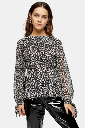 Topshop Womens Petite Black And White Print Sheer Sleeve Top - Monochrome