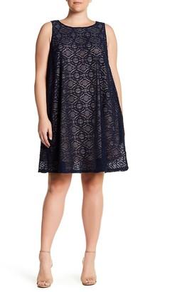 Sharagano Sleeveless Lace Swing Dress (Plus Size)