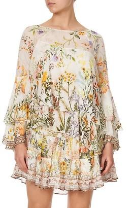 Camilla Layered Silk Floral Shift Dress