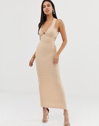 Asos Design DESIGN v bar bandage maxi dress-Brown