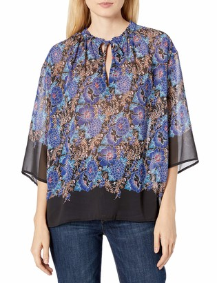 James & Erin Women's Printed 3/4 Sleeve Popover