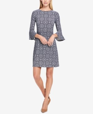 Tommy Hilfiger Petite Printed Bell-Sleeve Dress
