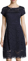Ellen Tracy Short-Sleeve Lace Midi Dress, Navy