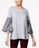 NY Collection Tie-Sleeve Mixed Media Knit Top