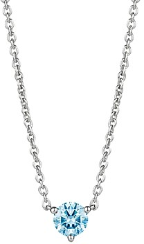 Lightbox Jewelry Solitaire Lab-Grown Diamond Pendant Necklace in Sterling Silver, 18
