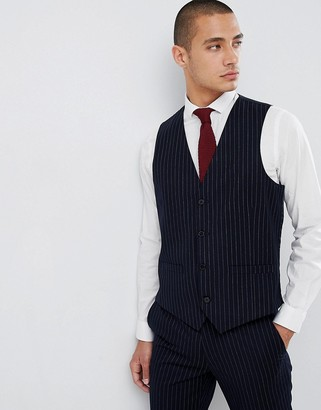 French Connection Slim Pinstripe Waistcoat-Navy