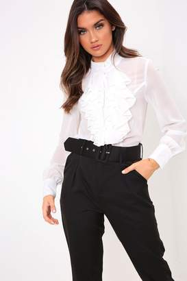 I SAW IT FIRST White Ruffle Front Blouse