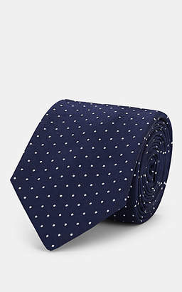 Barneys New York Men's Dot-Print Silk Necktie - Navy