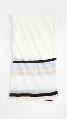 White + Warren Striped Mini Linen Travel Wrap