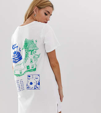 Crooked Tongues Crooked tongues t-shirt dress with back print-White