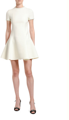 Valentino Studded-Trim Wool Fit & Flare Dress