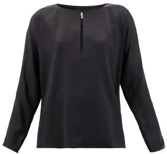 Yumi La Collection Keyhole Silk-satin Blouse - Womens - Black