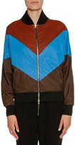 Marni Chevron Leather Bomber Jacket, Henne/Blue/Cocoa