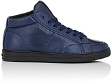 Prada MEN'S SHEARLING-LINED MID-TOP SNEAKERS-NAVY SIZE 7 M