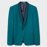 Paul Smith Men's Mid-Fit Teal Wool-Hopsack Shawl Collar Blazer