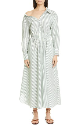 By Any Other Name Velvet Stripe Long Sleeve Maxi Shirtdress