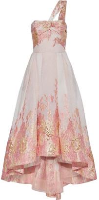 Marchesa One-shoulder Twist-front Fil Coupe Cloque Gown