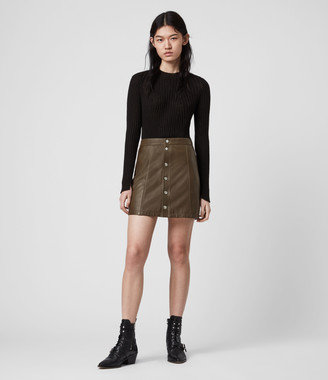 AllSaints Carson Leather Skirt